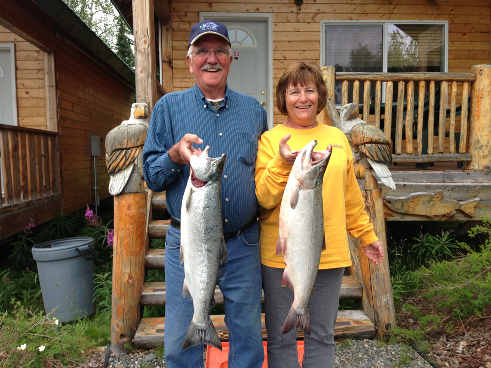 Couples Catcing Salmon In Alaska 1000